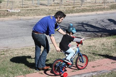 баща, син, заедно, мъж, колело, връзка